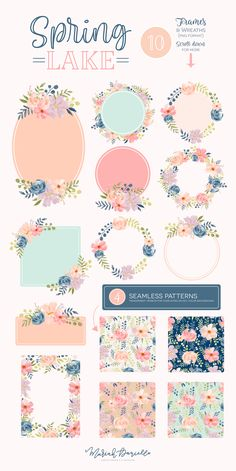 Spring Lake Floral Graphic Set - Illustrations | Hand Drawn Floral Illustrations | DIY wedding invitations | Pink, Coral, Teal, Turquoise | Floral Clipart | Spring & Summer Wedding clip art | Wedding Invitations | Watercolor Clipart | Watercolor Illustrations | Surface Pattern Design