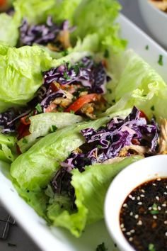 Asian Lettuce Wraps have turkey & vegetables stir fried in a ginger, garlic, & sesame sauce. Then layered in with rice and a crunchy cabbage sesame slaw. Easy Chicken Dinner Recipes, Best Chicken Recipes, Asian Recipes, Healthy Recipes, Healthy Eats, Easy Meals, Keto Recipes, Delicious Recipes, Healthy Foods