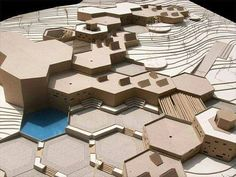 Agrobiological Research Center Volos (Greece) / Nikoleta Grigoroudi Futuristic Architecture, Concept Architecture, Landscape Architecture, Landscape Design, Architecture Design, Module Design, Arch Model, Modelos 3d, Urban Design