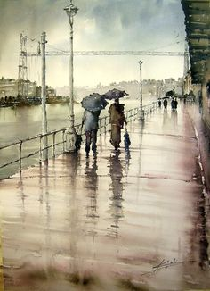 Jose luis Lopez - Ugly Day in Portugalete -  watercolor