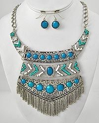 Vintage Blue turquoise silver collar Necklace