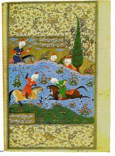 - Arabesque - Wikipedia, the free encyclopedia Horse Games, Persian Calligraphy, Islamic Paintings, Iranian Art, Animal Fashion, Illuminated Manuscript, Arabesque, Islamic Art, Book Art