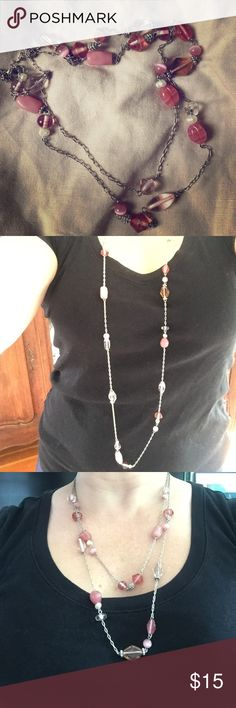 Selling this Long pink and silver tone beaded necklace. in my Poshmark closet! My username is: catcas123. #shopmycloset #poshmark #fashion #shopping #style #forsale #Lia Sophia #Jewelry