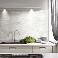 Marble Hexagon Tile Splashback A Bit To Though