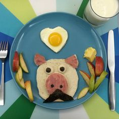 Kid's food art. Pig with moustache