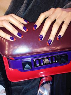 I am inspired by this to use: Eurso Euro and Where Did Suzi's Man-go?, stamped w metallic orange. Ji-Hye wearing a graphic diagonal manicure to match this colorblock Proenza purse Get Nails, Love Nails, How To Do Nails, Hair And Nails, New French Manicure, Short Nail Manicure, Manicure Ideas, Judy Nails, Nail Pops