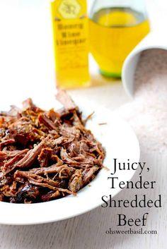 How to Make Tender Shredded Beef for tacos, taquitos, nachos, burritos etc ohsweetbasil.com