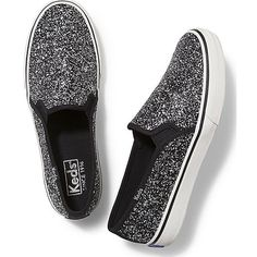 Keds DOUBLE DECKER GLITTER (425 DKK) ❤ liked on Polyvore featuring shoes, sneakers, black, slip-on shoes, black slip-on shoes, slip-on sneakers, keds sneakers and breathable sneakers
