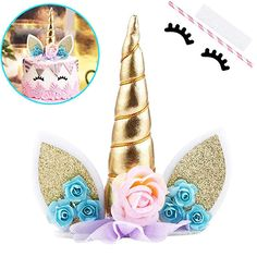 Unicorn Cake Topper, Unicorn Party Decorations, Birthday Party Cake Topper with horn and eyelashes, cupcakes anniversaire decoration licorne noël recette recipes cupcakes Unicorn Cake Decorations, Diy Unicorn Cake, Unicorn Cupcakes Toppers, Unicorn Cake Topper, Icing Decorations, Oreo Cupcakes, Kids Birthday Cupcakes, Unicorn Birthday Parties, Birthday Cake Toppers