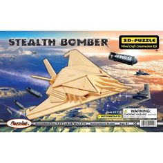 Puzzled Inc Wooden 3D Stealth Bomber Puzzle Kit