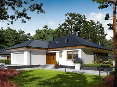 One of the most common house design is a Bungalow house plans. This plan is related to the Craftsman Style but refers more specifically to small, one-story g. House Layout Plans, House Layouts, Retirement House Plans, Bungalow House Plans, Home Design Plans, House Colors, Malaga, Gazebo, Outdoor Structures