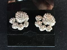 Silver Sparkly Paw Print Post Stud Earrings - pinned by pin4etsy.com