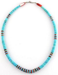 Navajo Artist Rolled Turquoise Spiny Oyster Heishi Necklace Spiny Oyster Cones