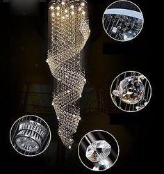 LED Chandeliers Crystal Ceiling Light Villa Stair Lighting Fixtures Pendant Lamp