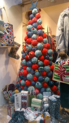 """Balls of Wool Christmas Tree, Chichester ,West Sussex, UK,""""This year i will knit the nativity set.........oh,i can't wait"""", pinned by Ton van der Veer"""