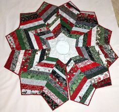 Christmas Tree Skirt String Pieced And Quilted With Red Silver Metallic Fabrics Housewarming Gift Elegant Quilt Decor Quiltsy Handmade