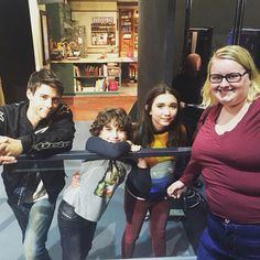 Rowan Blanchard and her cast mates with a fan