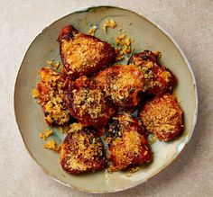 The finger-licker: Yotam Ottolenghi's 'fried' buttermilk chicken thighs. From oven-baked 'fried' chicken to coronation chicken bake, these child-friendly recipes will unite the whole family at mealtimes Yotam Ottolenghi, Ottolenghi Recipes, Otto Lenghi, Baked Fried Chicken, Roast Chicken, Miso Chicken, Chicken Skin, Oven Chicken, Crusted Chicken