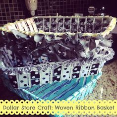 Woven Ribbon Basket - dollar store craft