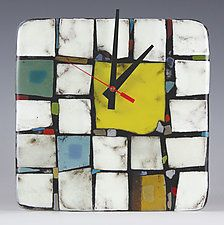 "Tribeca: Yellow by Nina  Cambron (Art Glass Clock) (8"" x 8"")"