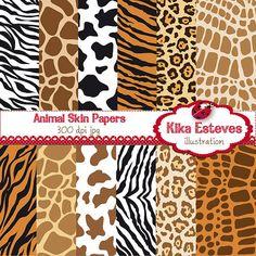 Animal Print Digital Papers - Scrapbooking, card design, invitations, background,  paper crafts, web design - INSTANT DOWNLOAD