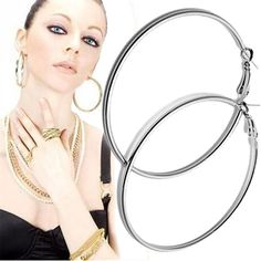 Drop Earrings Stylish Jewelry 1pair Big Hoop Earrings Shiny Smooth Earring Clear Circle Round Hoop Charm Earring Pendientes For Women Dropship Fine Craftsmanship