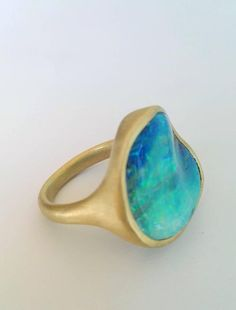 Dalben One of a Kind Boulder Opal Satin Gold Ring 2