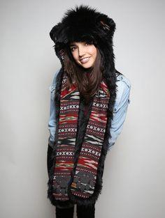 Black Bear faux fur animal inspired hood (100% Vegan). Unisex (one size fits most).