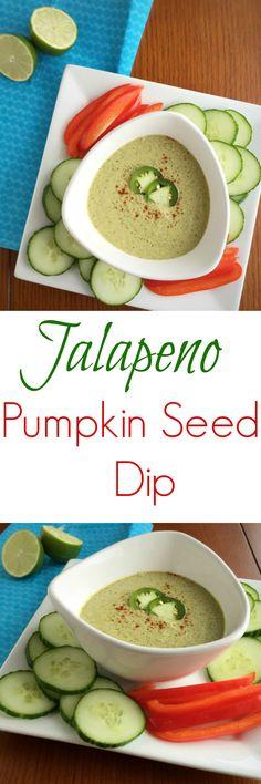 "Jalapeno Pumpkin Seed Dip ----- I will use a vegan ""sourcream"" - rueth"