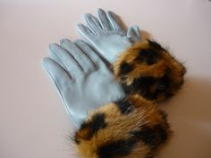 Leopard fur bangles with light blue gloves
