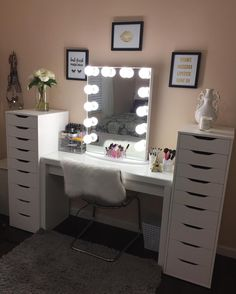 But first mascara! Who else wants to get ready for their Saturday night with @__viviann.u's stunning makeup station?  Featured: #ImpressionsVanityGlowXL in Glossy White & Frosted Bulbs  Ikea Desk  Alex Drawers #vanityinspo
