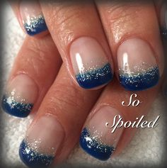 Bio Sculpture Gel Nail Art & Design. Fall 2014 & 2015 runway colour trend is deep blue, shown on short french nails with metallic accent. Royal Cobalt Orchid Navy