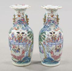 Par de vasos em porcelana Chinesa do sec.19th, Familia Rosa,
