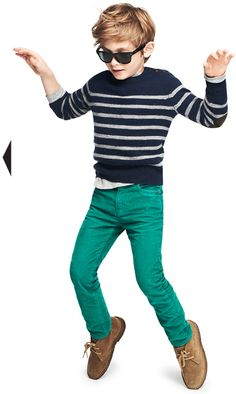 J. Crew stripe elbow-patch sweater, waffle henley, vintage cord in slim fit, suede macalister boot