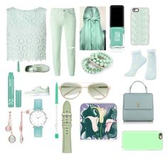 """Pastel green"" by punkie707 ❤ liked on Polyvore featuring Miss Selfridge, 7 For All Mankind, Jin Soon, Casetify, Ana Accessories, NYX, Vans, 3.1 Phillip Lim, BOSS Hugo Boss and Abbott Lyon"