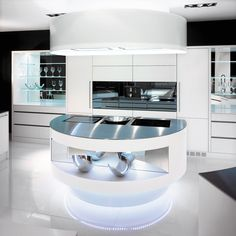 staron solid surface : kitchen design - Germany, designe by Brunner kuchen Bettwil [ BW010- Bright white ] white interior / minimal design