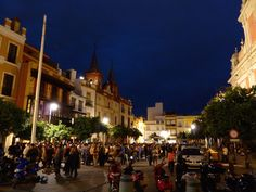 Plaza del Salvador at night is lively with people drinking on the streets outside of holes in the wall (bars) serving up drinks. Sevilla Spain, Wall Bar, Seville, Lisbon, Salvador, Drinking, Dolores Park, Street View, Adventure