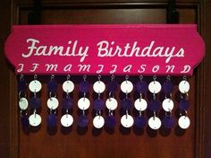 I love this!      Family Birthday Chart by Richcrafter on Etsy, $40.00
