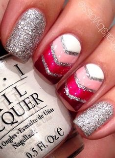 Glam Pink #NailArt with Glitter.