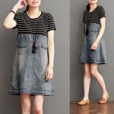 Blue short summer denim dress strip patchwork<br /><br />This dress is made of cotton linen fabric, soft and breathy, suitable for summer, so loose dresses to make you comfortable all the time.<br /><br />Measurement:<br /> <br /><br /> Size M <br /><br / Sewing Clothes, Diy Clothes, Diy Old Jeans, Next Jeans, Women's Jeans, Casual Dresses, Short Sleeve Dresses, Loose Dresses, Denim Dresses