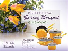 Enter to WIN - Celebrate moms everywhere with bright & colorful cookware! Our Mother's Day Spring Bouquet #Giveaway features (1) yellow Rachael Ray 10-Piece Cookware Set and (3) Rachael Ray 2-Quart Teakettles! Click on the image to sign up. #MothersDayGiveaway