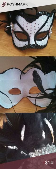 Mardi Gras Mask Black feathers and white background with silver and black sequins. I received so many compliments on it when I wore this to a party. Accessories