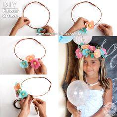 Como fazer coroa de flores de papel ou flores artificiais - passo a passo - DIY…