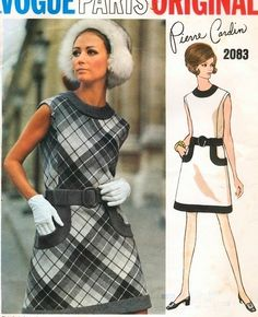 1960s VOGUE PARIS ORIGINAL 2083 MOD PIERRE CARDIN DRESS PATTERN  Think I may have had this pattern in the early 70's