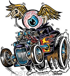 Von Franco Eye Gone Wild Sticker Image use to be a hit of acid flying eyeball without the car! Rat Fink, Ed Roth Art, Hot Rod Tattoo, Cartoon Rat, Pinstripe Art, Monster Car, Rockabilly, Garage Art, Lowbrow Art