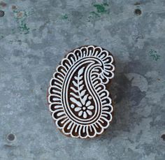 Wood block stamp Indian paisley wooden stencil fabric printing