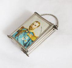 1930er Jahre alte deutsche Lithographierte Damen Taschenspiegel kompakte Spiegel…