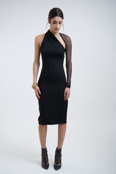 NEW Black Mesh Dress / One Shoulder Pencil Dress / by marcellamoda