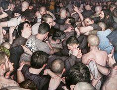 Avec sa série Mosh Pits, l'artiste américainDan Witz, originaire deChicago, se penche sur le phénomène du mosh pit, la variante hardcore dupogo, en es