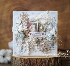 Lovely Christmas Card by Evgenia Petzer, using some  beautiful papers from Joyous Winterdays - MajaDesign. <3  #card #cardmaking #cardinspiration #papercraft #papercrafting #papercrafts #scrapbooking #majadesign #majadesignpaper #majapapers #inspiration #vintage